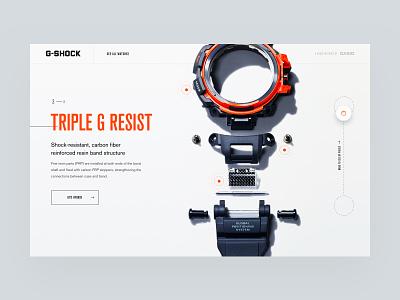 G-Shock pieces casio watch drag typography web white clean design ux ui