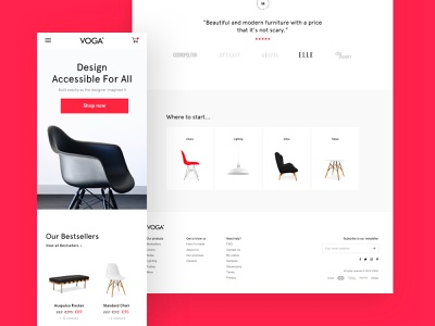 Voga bestsellers testimonials footer ecommerce furniture product pdp white web typography clean ux design ui
