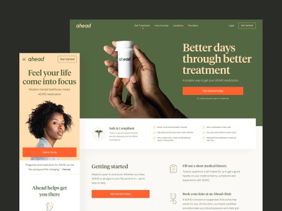 Ahead get started home pdp product ecommerce white web typography clean ux design ui