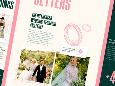 Lyst Weddings pattern ring hashtag influencers instagram pink report weddings illustration web typography clean ux design ui