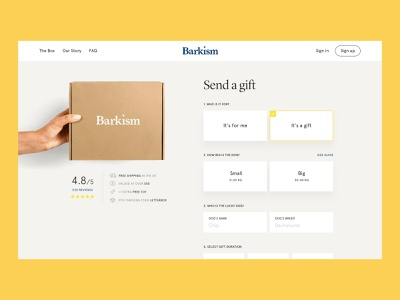 Barkism product pdp reviews gift signup subscription dog box ecommerce white web typography clean ux design ui
