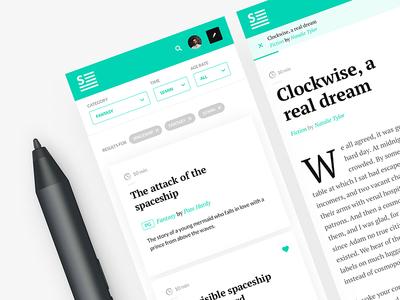 Short Stories App white clean dropcap cards article design app mobile ux ui