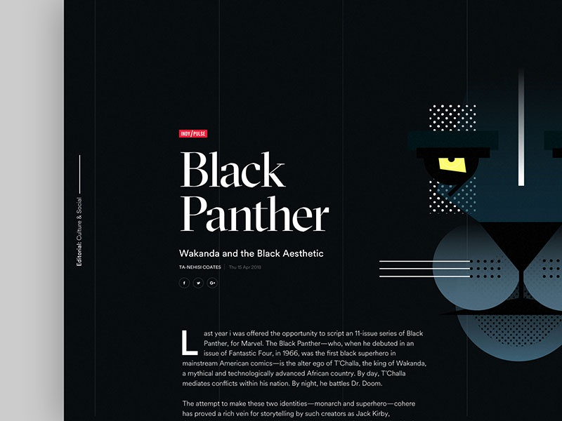 Black Panther typography panther illustration black dark clean dropcap article design web ux ui
