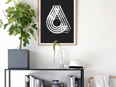 Letter A geometry pen typography a letter poster vector illustration