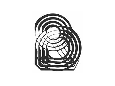 Letter B typography poster pen letter vector illustration geometry b
