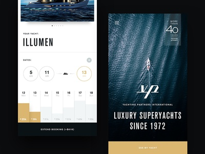 Luxury Superyachts home landing price dates booking yachts clean design app ux ui