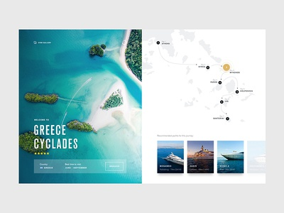 Yacht Itinerary gallery cards itinerary route map yacht design web ux ui