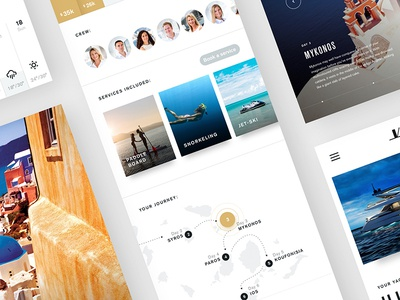 Yachts App cards gallery map yachts white clean design app ux ui
