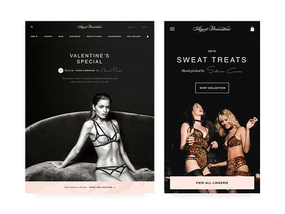 Agent Provocateur ecommerce handwriting pink lingerie homepage dark design app ux ui