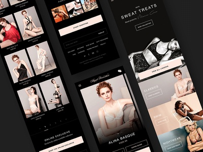 Agent Provocateur shop ecommerce pink lingerie dark design app mobile ux ui