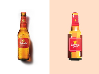 IcoBeer - Estrella Damm print bottle geometry beer poster vector illustration