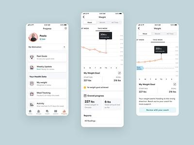 Progress page update redesign progress weight chart health weight interface ux data ui app design