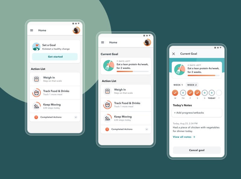 SMART Goals data mobile ux ui design achievements health goal progress health weekly goal challenges setup tracking goals