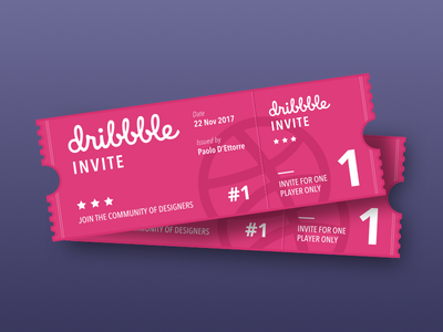 2 Dribbble Invites invitation ticket player dribbble invite join invites dribbble