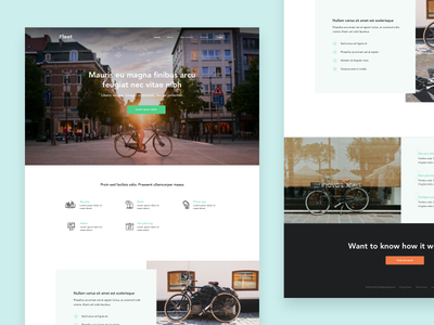 Bike City landing page design web interface homepage cycling bike simple ui website landing page clean