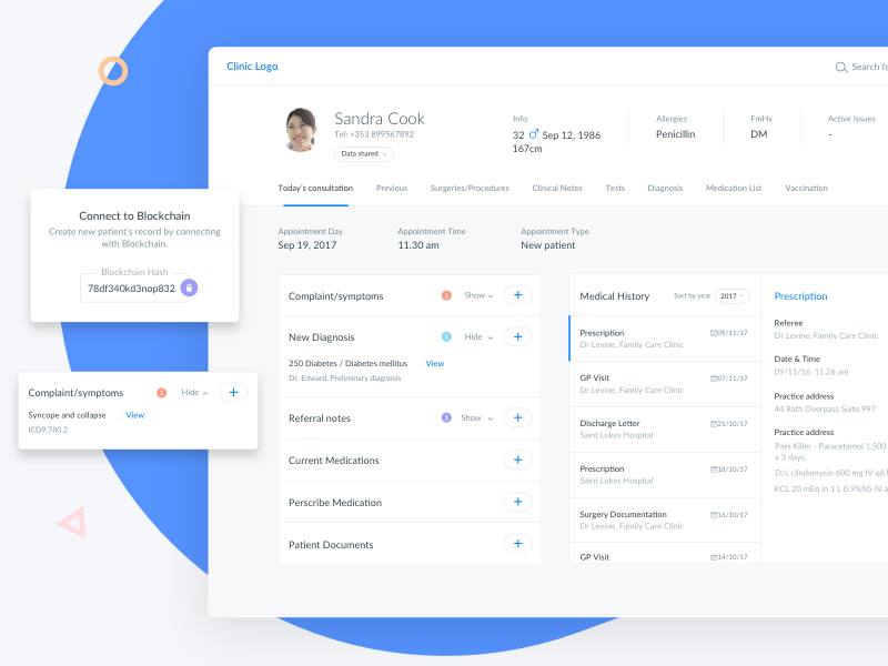 Blockchain in healthcare - Doctor's Dashboard application share design blue hospital clinic doctor dashboard healthcare medical blockchain data dashboard