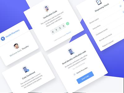 Pharmacy widgets preview confirmed medical design web ux app ui health verification code pharmacy data dashboard