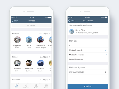 Medical data app - Find trustee and share data blockchain hospital clinic share ux ui design ios healthcare data medical app