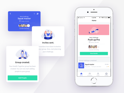 Work Fitness Challenges app exercise program ux illustrations mobile iphone ios design challenges health fitness app