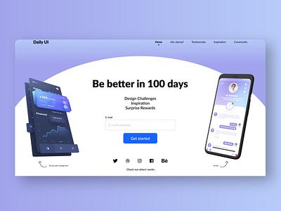 DailyUI #100 - DailyUI landing pag redesign - Desktop desktop landingpage design ui  ux daily 100 challenge uidesign figma dailyuichallenge adobexd dailyui