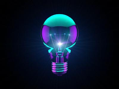 Lightbulb space icon glow lightbulb
