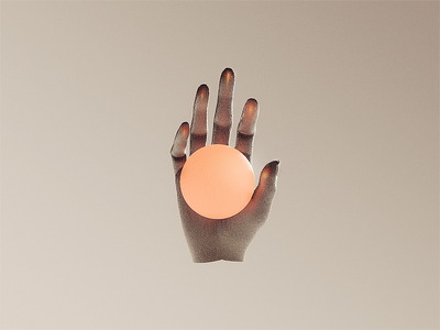 Hand abstract grasp orb glow