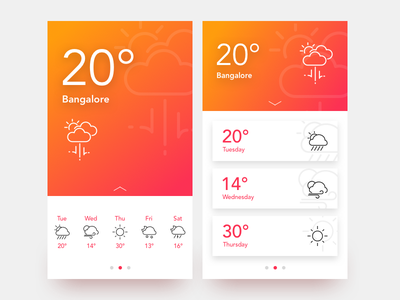 Weather scroll slide text gradient flat icon android ios ux ui weather