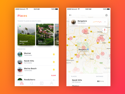 Nearby Places experience user ux ui search map location card place new mobile ios