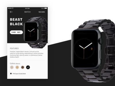Apple Watch 2 series black card phone ios new design ux ui watch
