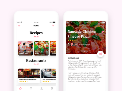 Recipes & Restaurants typo font ios share colors experience interface mobile phone ux ui food