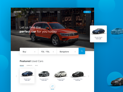 Get Cars Online insurance finance service sell buy blue new ux ui web cars online