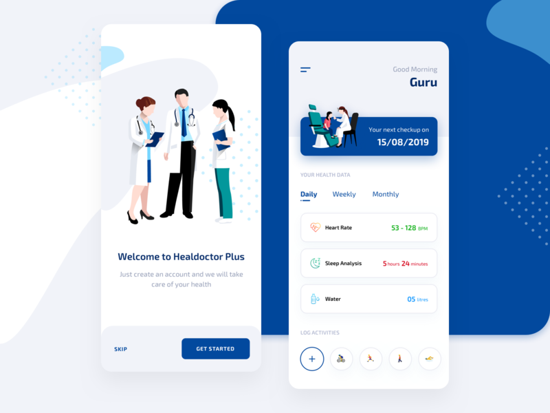 Health Consultation App user free illustration vector typography invite mobile invitation blue interface design app phone dribbble card experience new ios ui ux