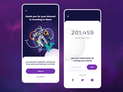 Moon Ticket App user vector free illustration typography invite mobile invitation blue interface design app phone dribbble card experience new ios ui ux