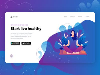 Yoga Studio Website Concept typography branding vector illustration yoga studio purple yoga dribbble experience new ui ux