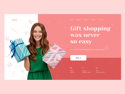 Design concept for gift shopping service inspiration design ideas gift user experience web design design concept onlineshopping celebration presents service home screen color colorful composition ui homepage ecommerce design