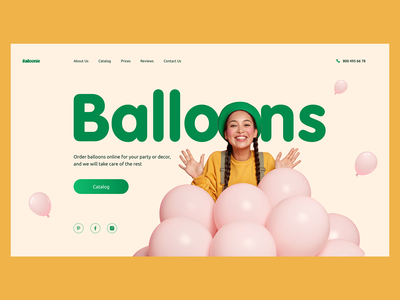 Website concept for ordering balloons online girl homepage ecommerce occasion celebration celebrate logo balloon social media navigation menu design inspiration typography composition first screen webdesign uidesign uxdesign entertainment
