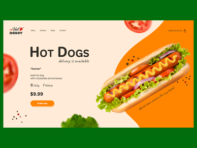 Hot Doggy bright colors orange colors design vegetable typogaphy composition ui webdesign product page delivery food hotdog