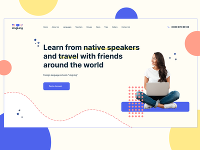 Language School LingLing stars bright colors language learning geometric shapes shapes education learning students study school foreign language languages inspiration typography homepage uidesign ui design webdesign composition