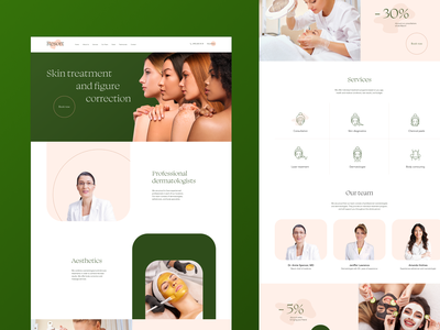 Resort – cosmetology clinic dermatology skin treatment green landing page homepage composition ui aesthetic beauty salon cosmetology website webdesign