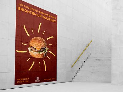 Food Hood Poster Desig Student Project cheddar fries burger food minimal logo typography design