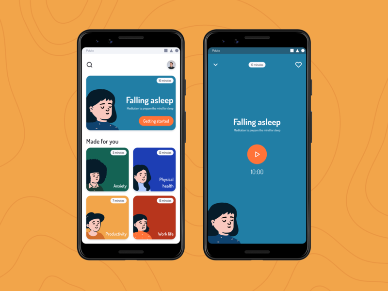 Meditation App - Exploration figma anxiety stress mentalhealth android meditation illustration ux design app ui homepage component concept