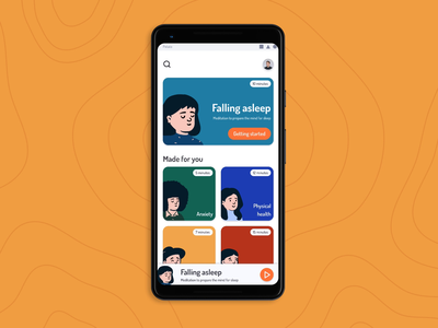Meditation App - Interaction principle figma mentalhealth stress anxiety illustration prototype animation interaction ux design app ui homepage component concept