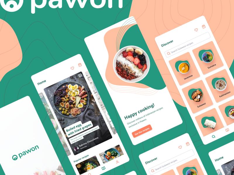 Pawon - Indonesian recipe ideas - UI Design designs figma homepage concept pattern indonesia recipe mobile app iphone ios minimal flat app typography ux branding ui logo design
