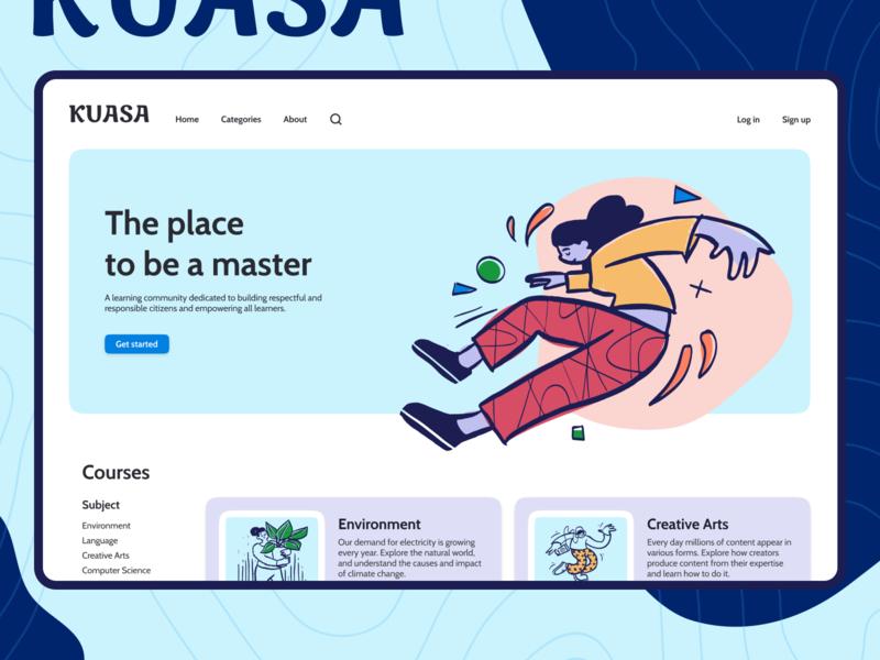 Kuasa - Online learning platform - Landing Page course learn education platform landing page typography logo branding figma ux homepage design component ui concept