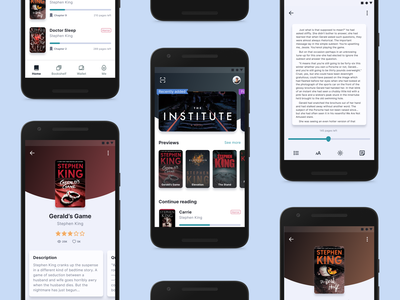 Book Subscription App - Exploration interaction subscription stephenking blue ui mobile ui mobile app design mobile app mobile android app book design homepage concept component