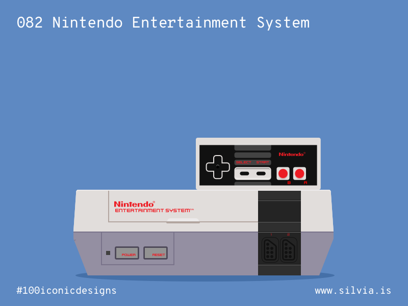 082 Nintendo Entertainment System console game nes nintendo 100iconicdesigns flat illustration industrialdesign product productdesign