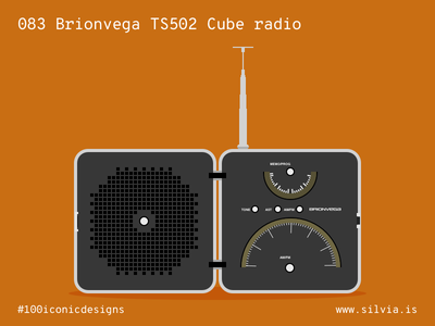 083 Brionvega Ts502 Cube radio zanuso sapper brionvega radio 100iconicdesigns flat illustration industrialdesign product productdesign