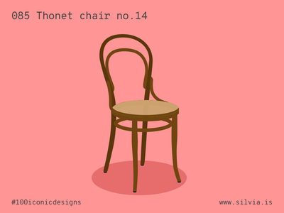 085 Thonet Chair No.14 no14 thonet chair seat 100iconicdesigns flat illustration industrialdesign product productdesign
