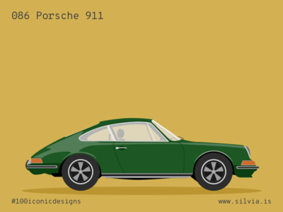 086 Porsche 911 porsche car 100iconicdesigns flat illustration industrialdesign product productdesign