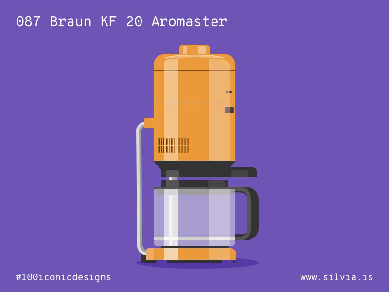087 Braun KF 20 Aromaster brew seiffert dieterrams coffee braun 100iconicdesigns flat illustration industrialdesign product productdesign